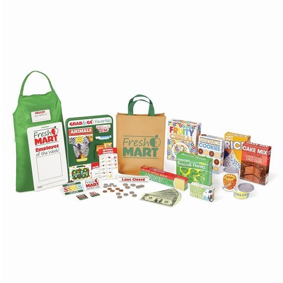 Play food boxes, cans, money & more!